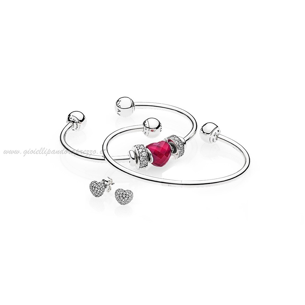 Pandora Gioielli Be Mine Stacked Open Bangle Regalo poco prezzo